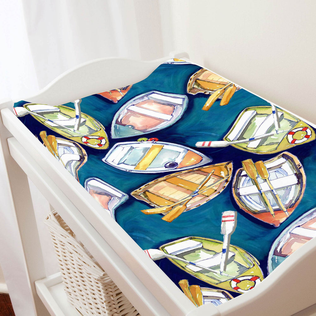 Product image for Blue Watercolor Boats Changing Pad Cover