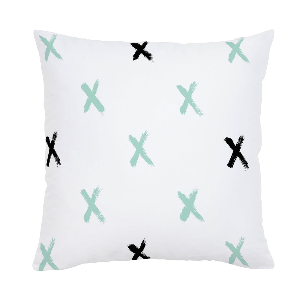 Product image for Mint and Onyx Brush X Throw Pillow