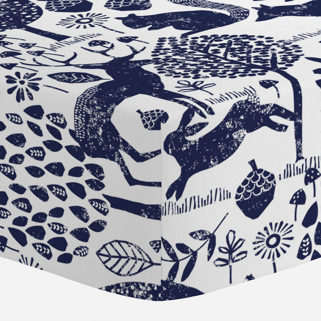 Product image for Navy Woodland Animals Crib Sheet