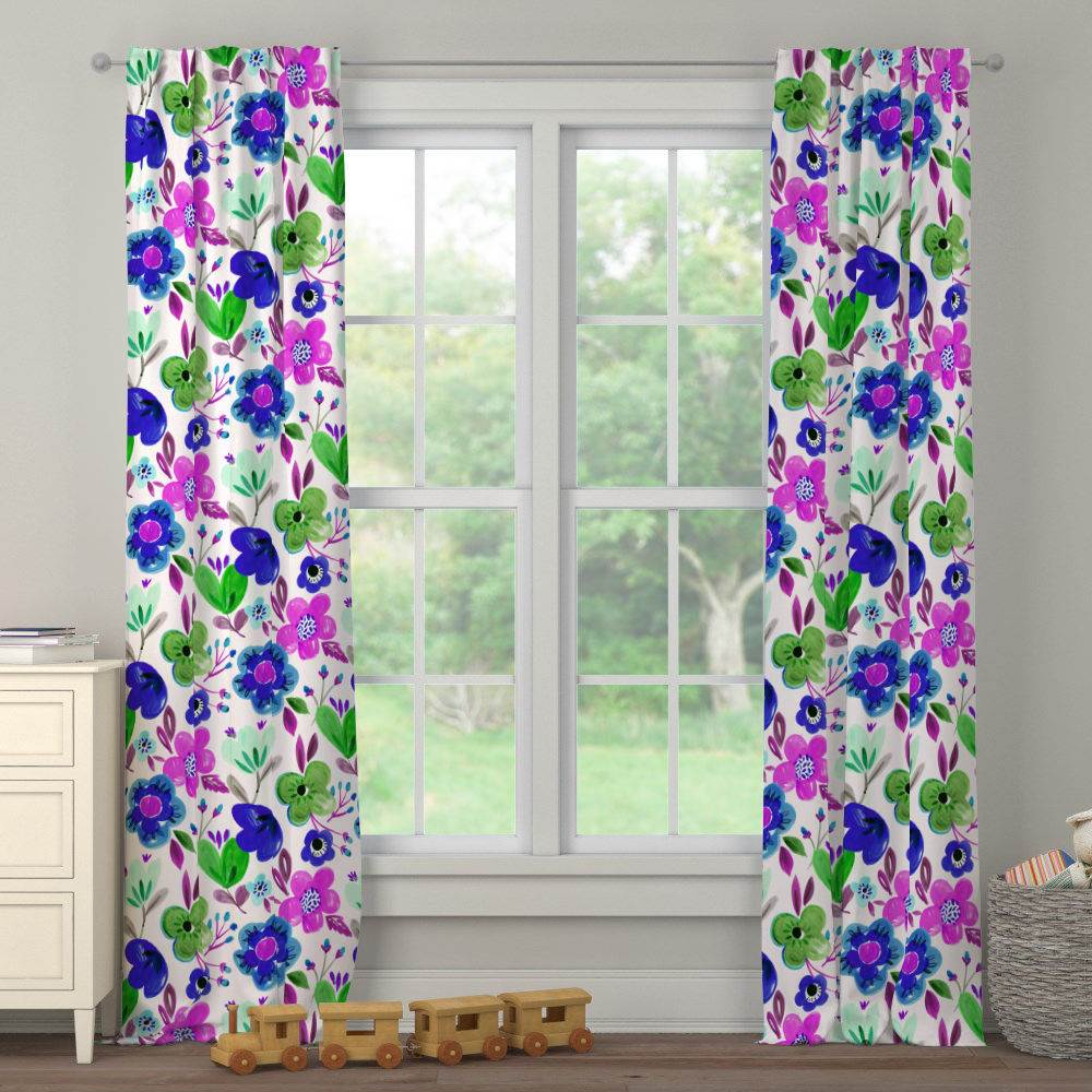 Product image for Purple Painted Flowers Drape Panel