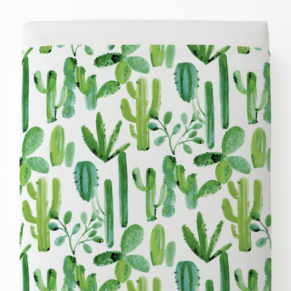 Product image for Green Painted Cactus Toddler Sheet Top Flat