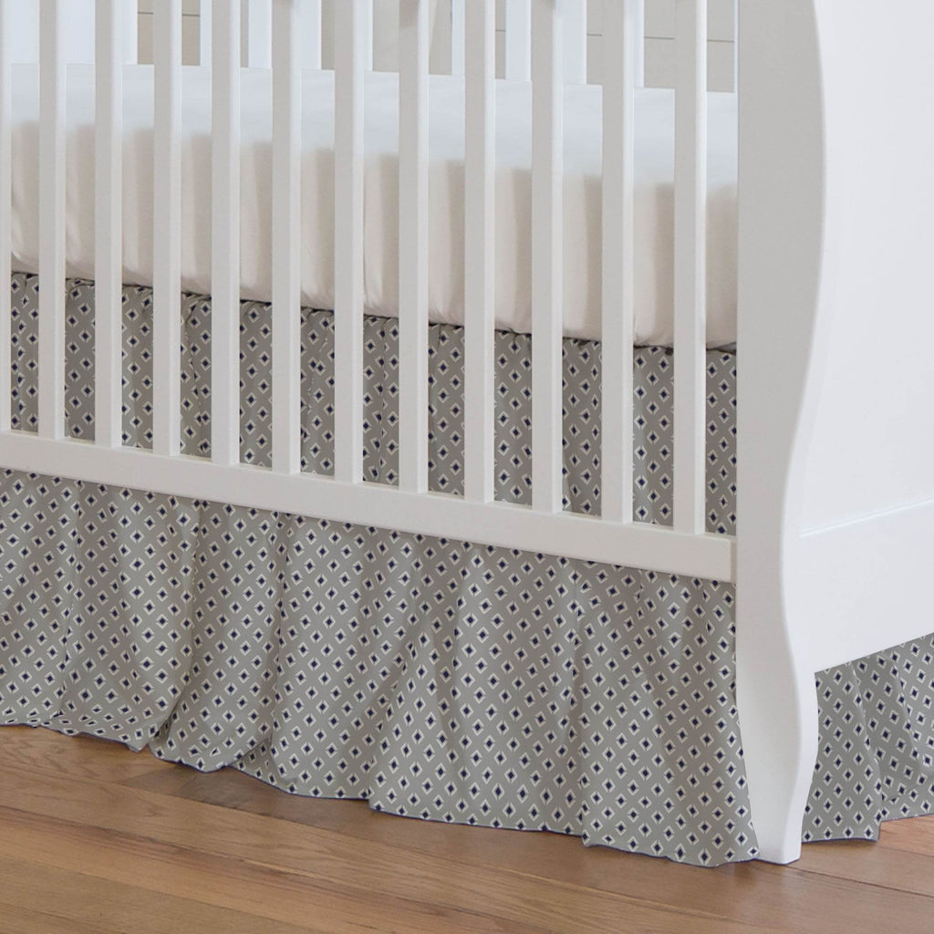 Product image for Silver Gray and Navy Diamond Crib Skirt Gathered
