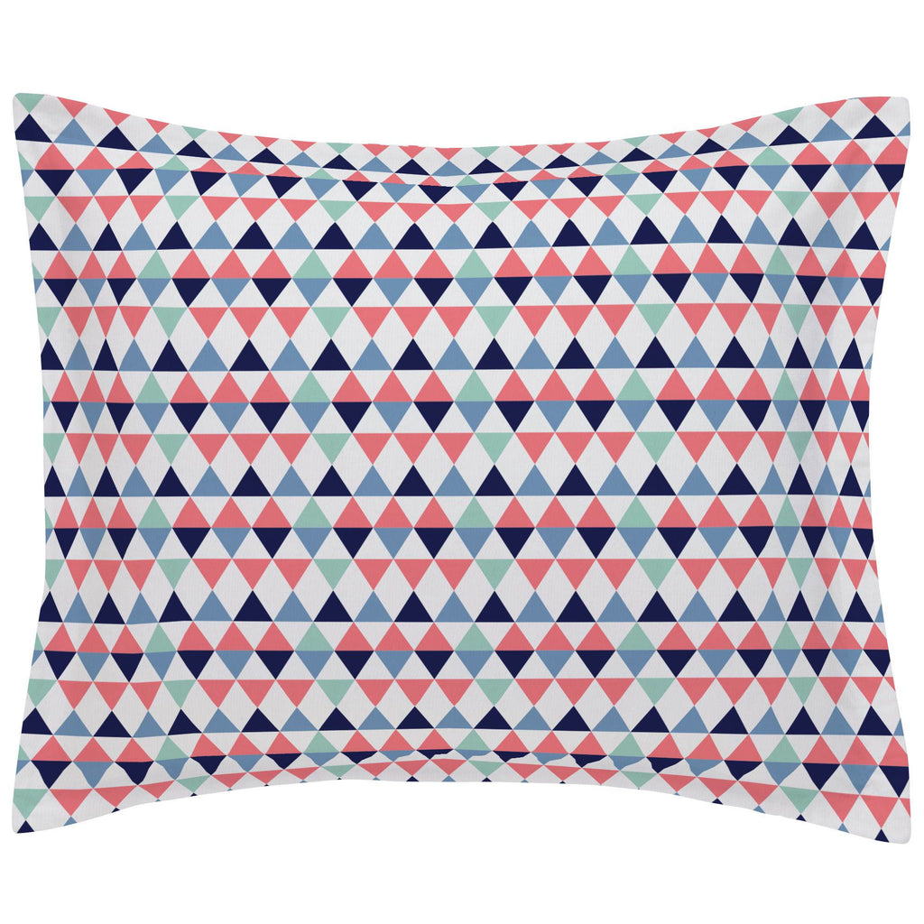 Product image for Coral and Mint Triangles Pillow Sham