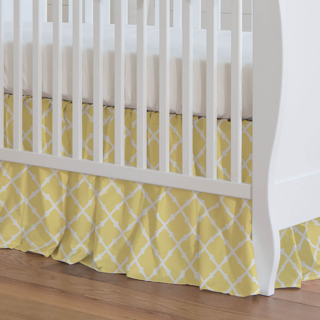 Product image for Banana Yellow Lattice Crib Skirt Gathered