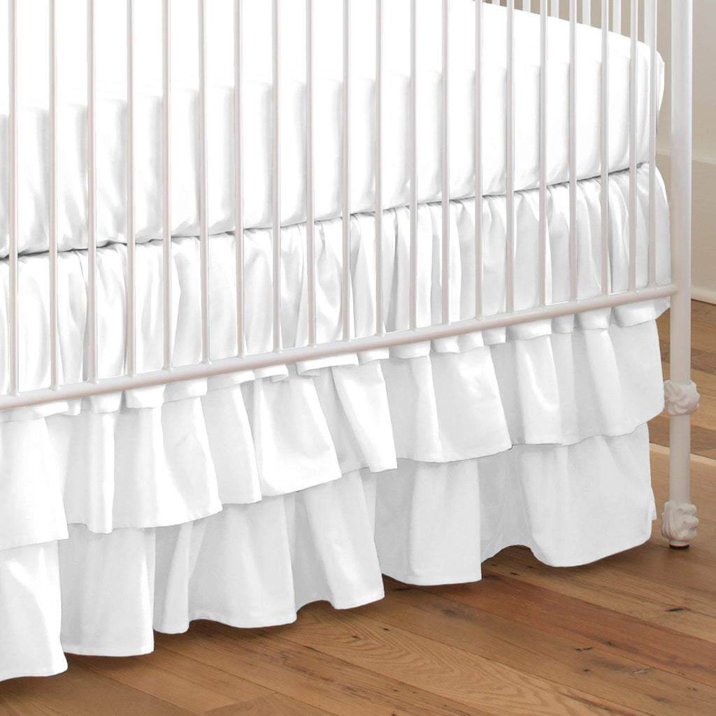 Product image for Solid White Crib Skirt 3-Tiered