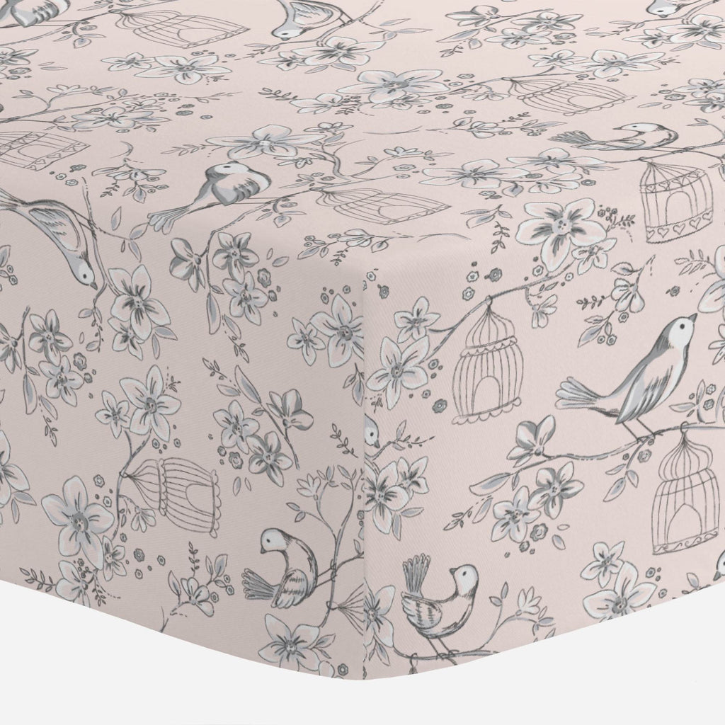 Product image for Pink and Gray Bird Cage Crib Sheet