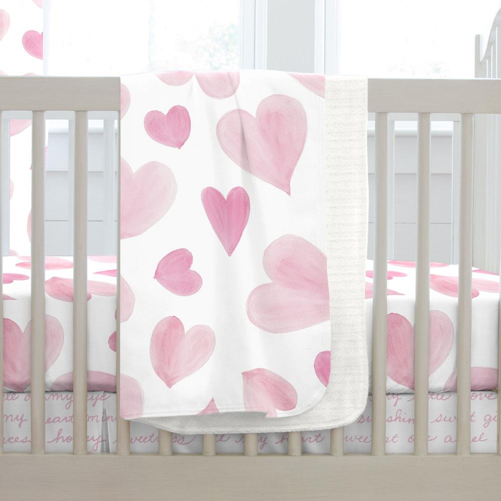 Product image for Pink Watercolor Hearts Baby Blanket