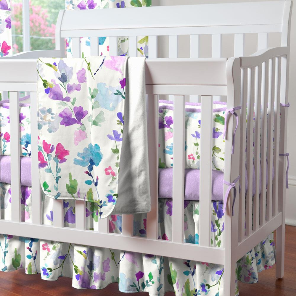 Product image for Bright Wildflower Mini Crib Skirt Gathered