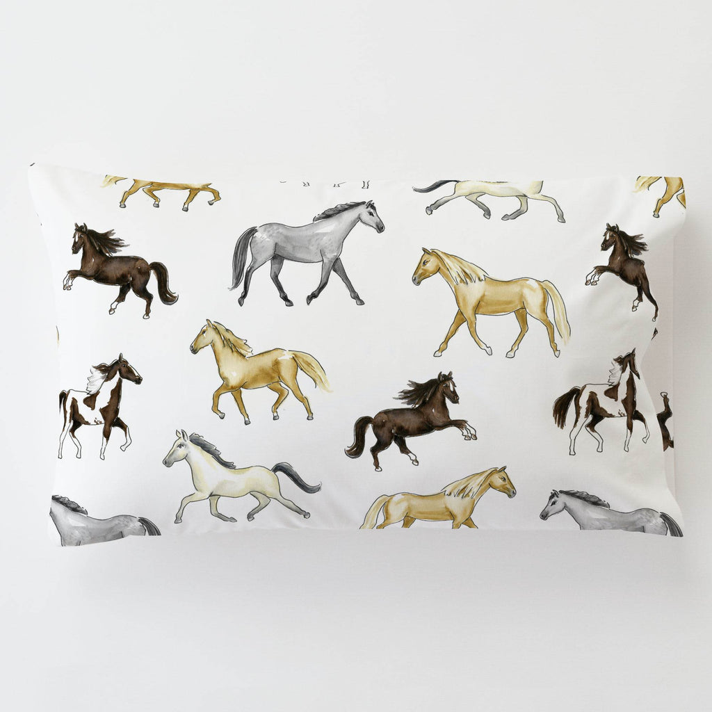 Product image for Watercolor Horses Toddler Pillow Case with Pillow Insert