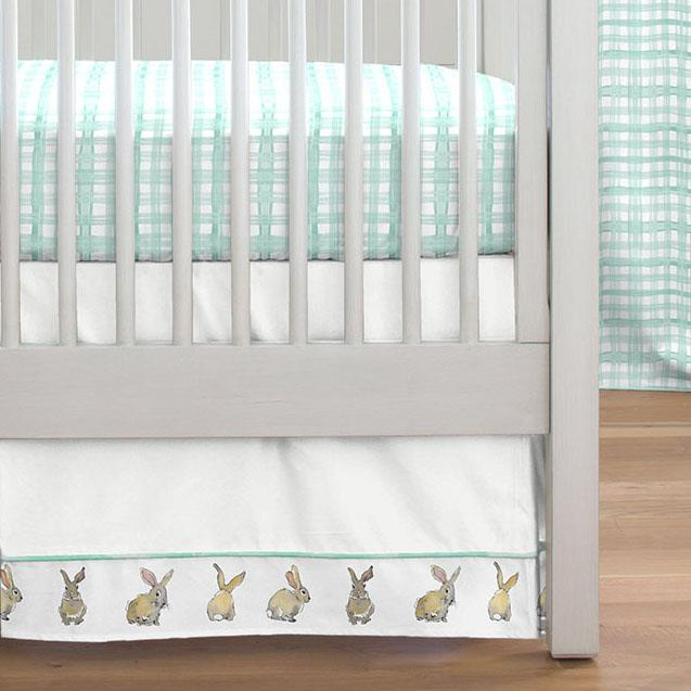 Product image for Mint and Taupe Rabbits Crib Skirt Single-Pleat with Trim