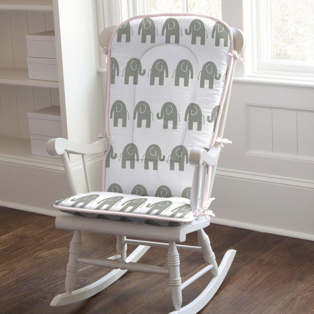 Product image for Pink and Gray Elephants Rocking Chair Pad