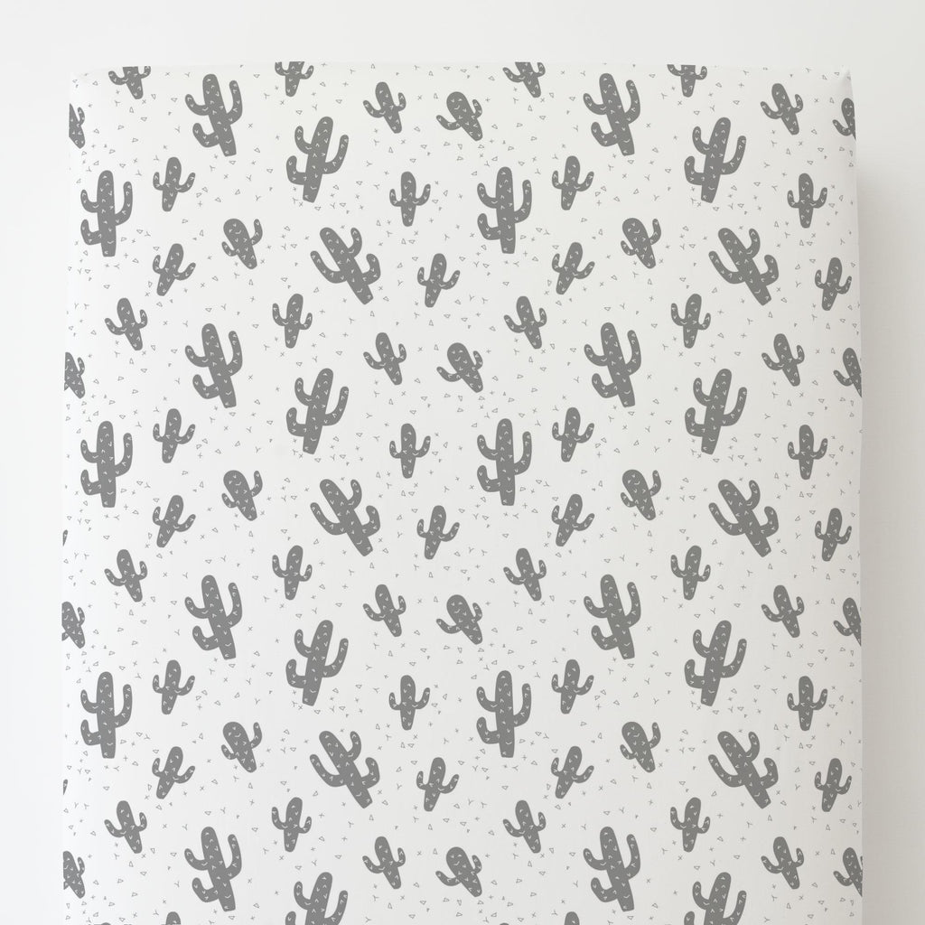 Product image for Cloud Gray Cactus Toddler Sheet Bottom Fitted