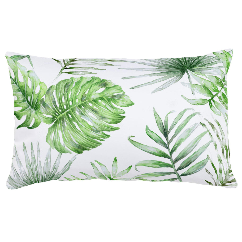 Product image for Green Painted Tropical Lumbar Pillow