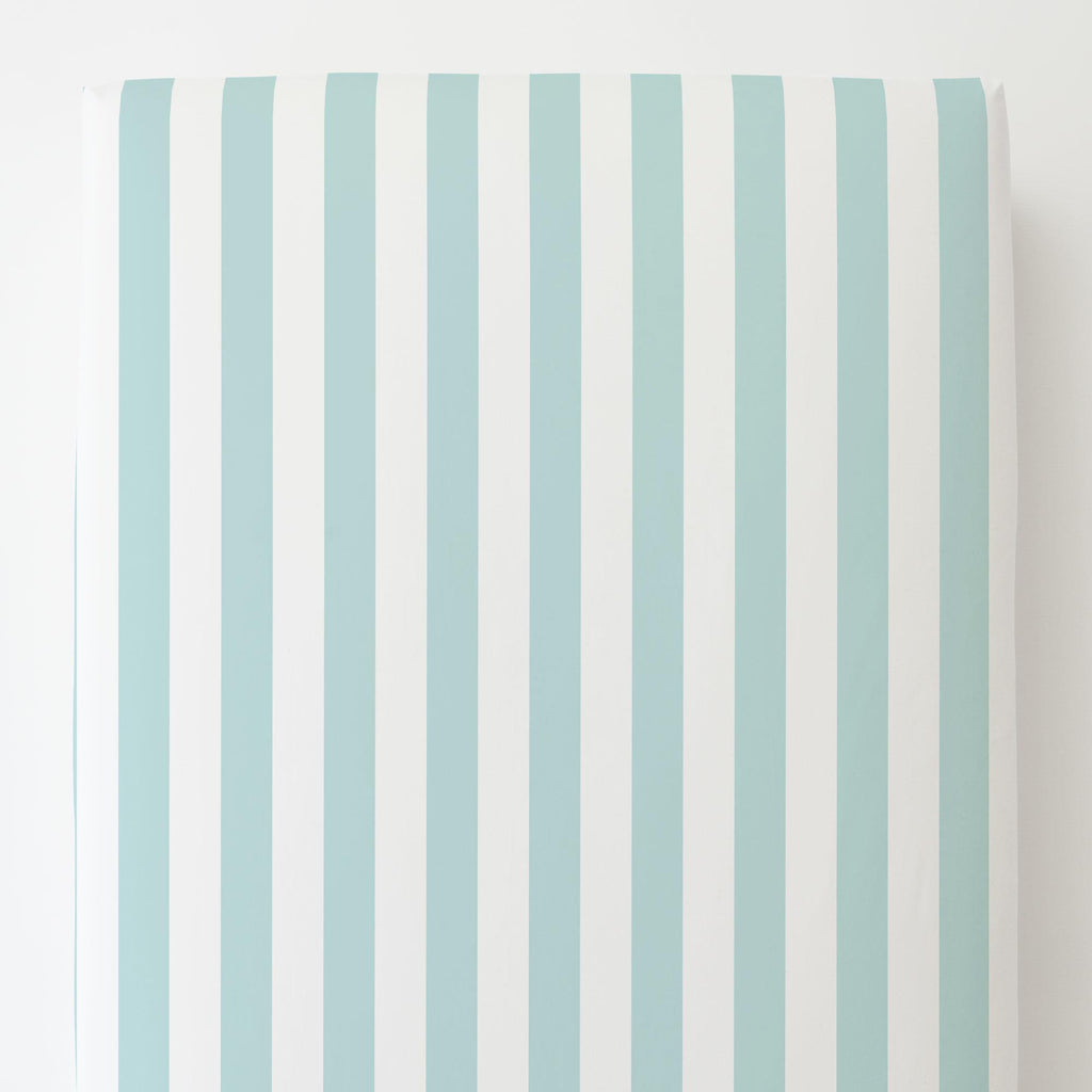 Product image for Mist Canopy Stripe Toddler Sheet Bottom Fitted