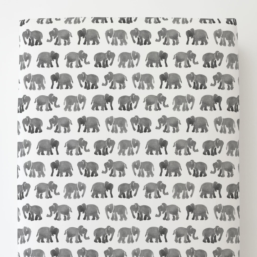 Product image for Gray Watercolor Elephants Toddler Sheet Bottom Fitted