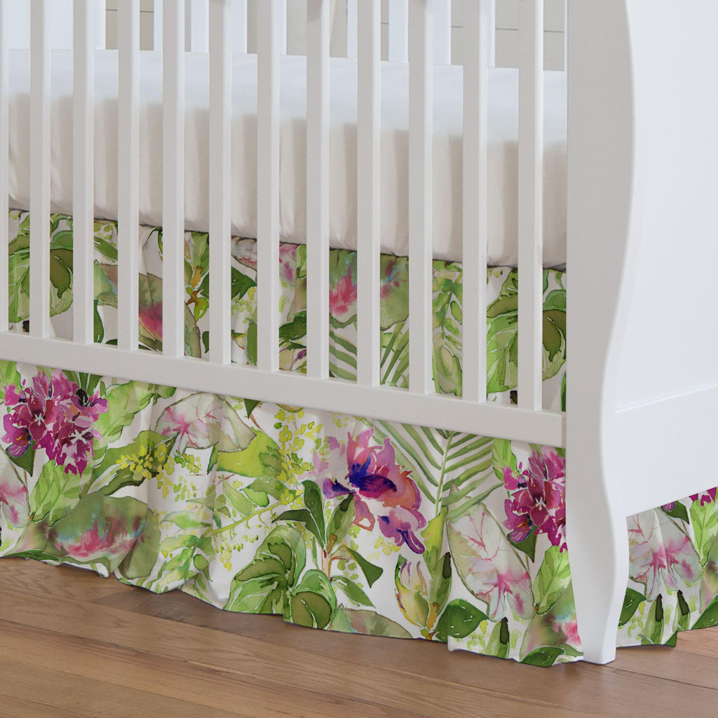 Product image for Tropical Garden Crib Skirt Gathered