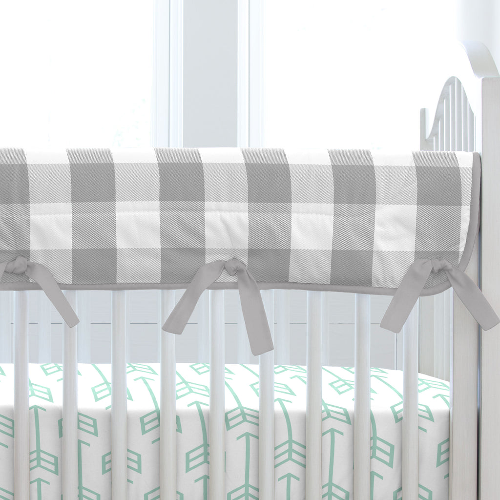 Product image for Gray Buffalo Check Crib Rail Cover