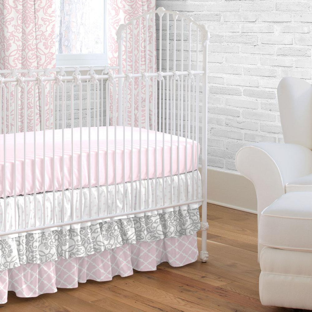 Product image for Gray Filigree Crib Skirt 3-Tiered