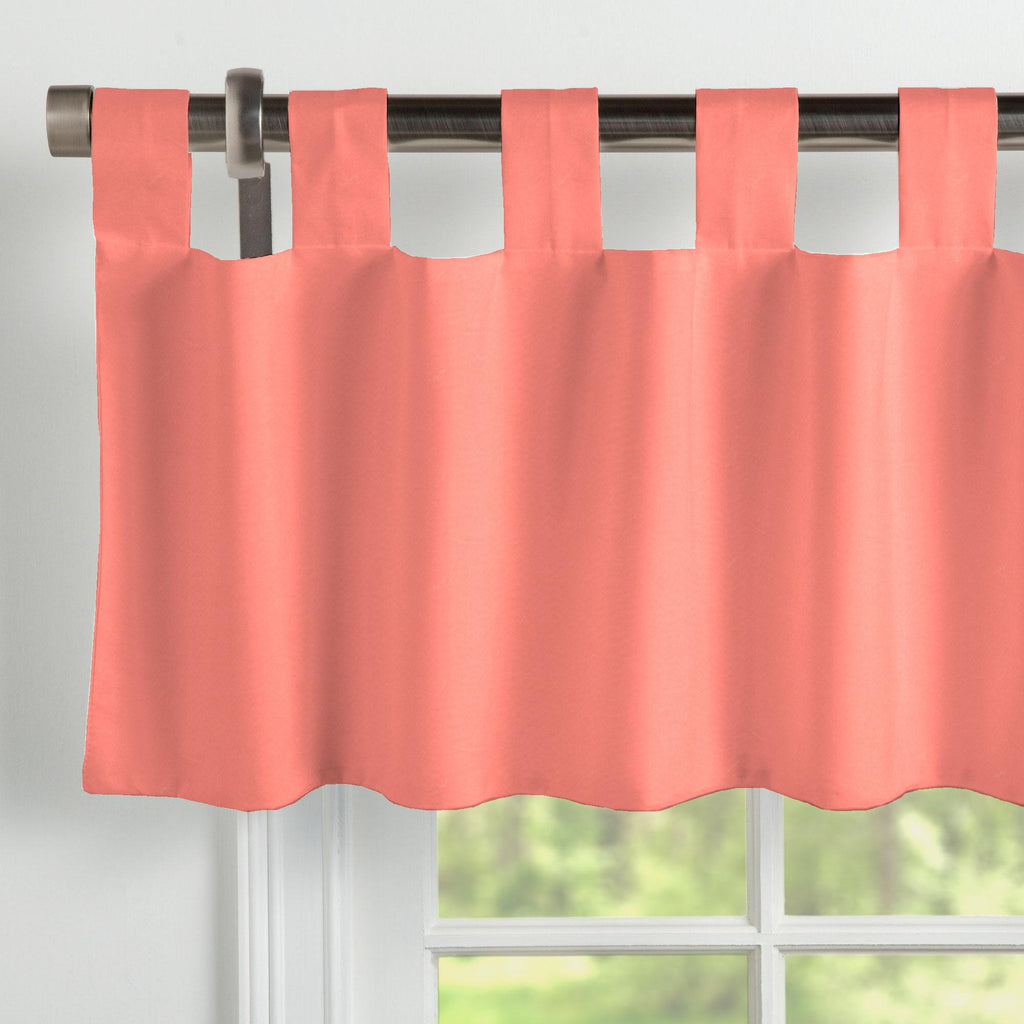 Product image for Solid Coral Window Valance Tab-Top