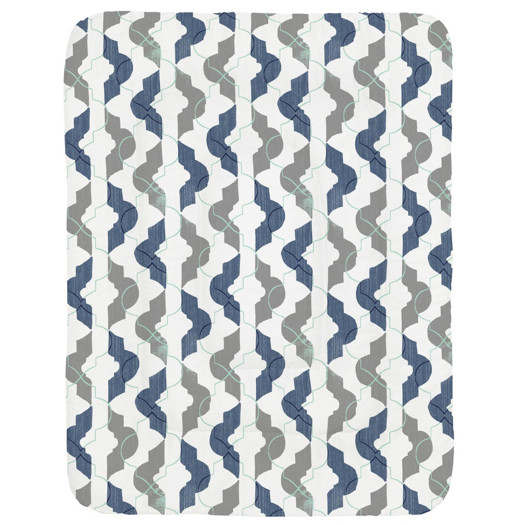 Product image for Denim and Gray Modern Quatrefoil Crib Comforter