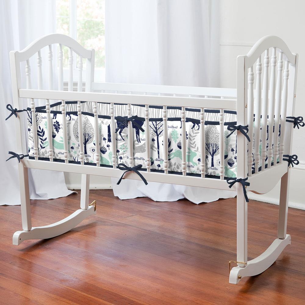Product image for Navy and Mint Woodland Animals Cradle Bumper