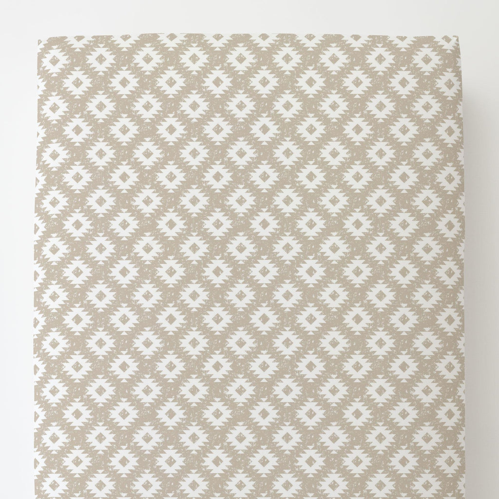 Product image for Taupe and White Aztec Toddler Sheet Bottom Fitted