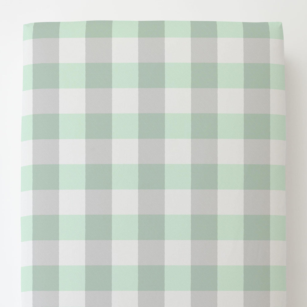 Product image for Mint and Gray Buffalo Check Toddler Sheet Bottom Fitted