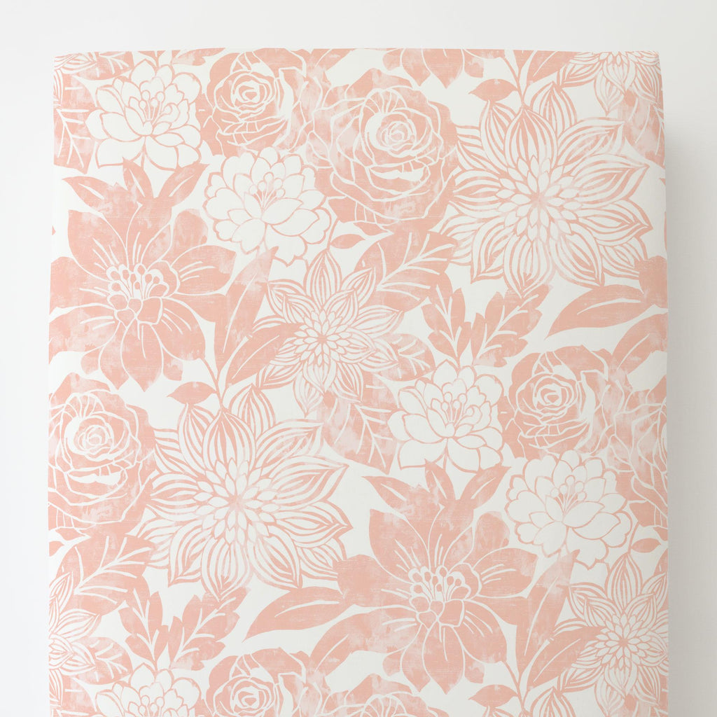 Product image for Peach Modern Blooms Toddler Sheet Bottom Fitted