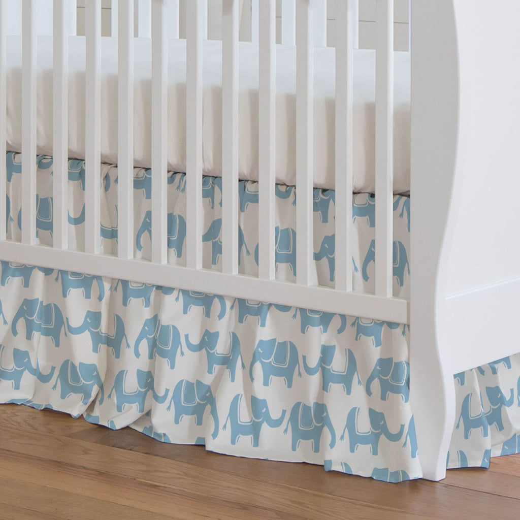 Product image for Lake Blue Marching Elephants Crib Skirt Gathered