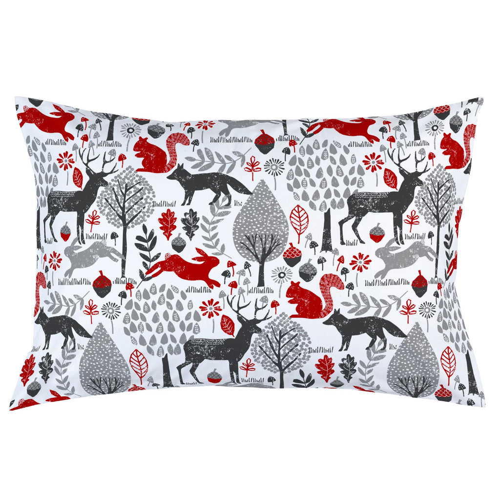 Product image for Red and Gray Woodland Animals Pillow Case