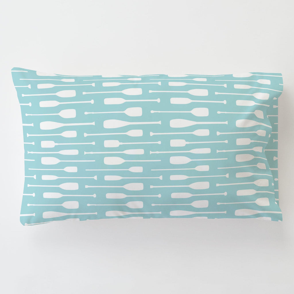 Product image for Seafoam Aqua and White Oars Toddler Pillow Case with Pillow Insert