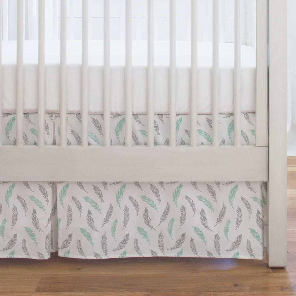 Product image for Mint and Silver Gray Hand Drawn Feathers Crib Skirt Single-Pleat