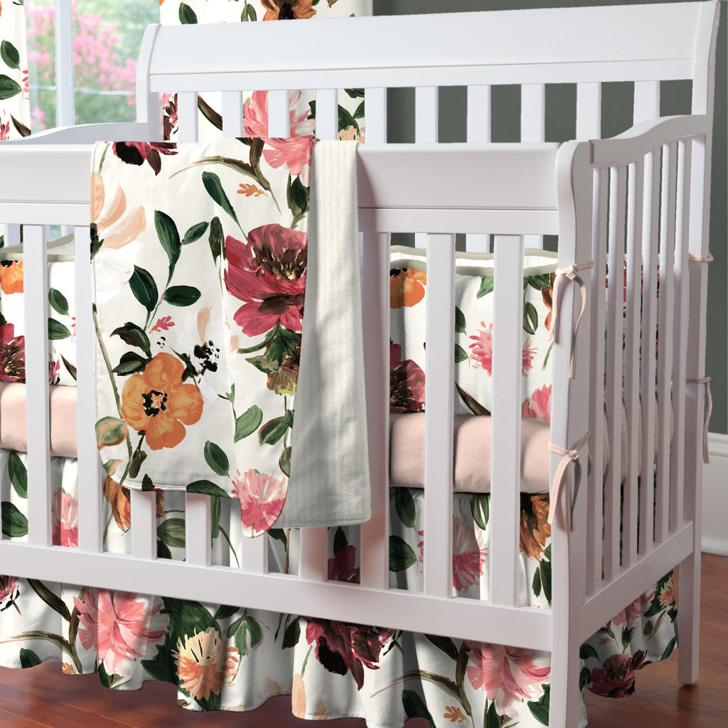 Product image for Moody Floral Mini Crib Skirt Gathered
