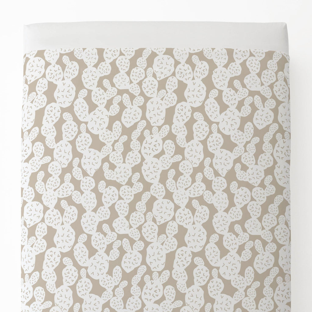 Product image for Taupe Prickly Pear Toddler Sheet Top Flat
