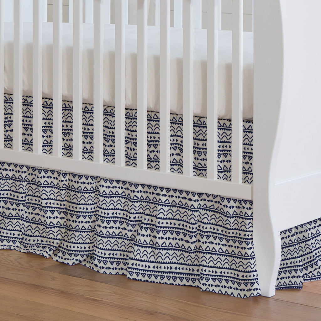 Product image for Windsor Navy Baby Aztec Crib Skirt Gathered