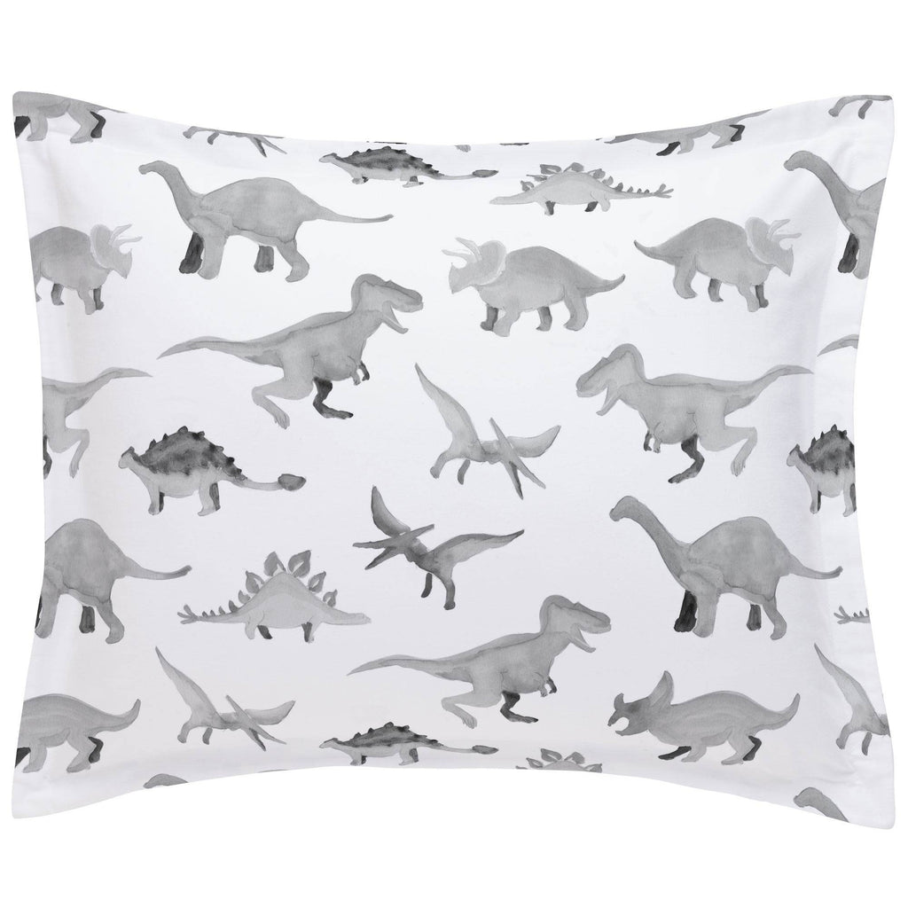Product image for Gray Watercolor Dinosaurs Pillow Sham