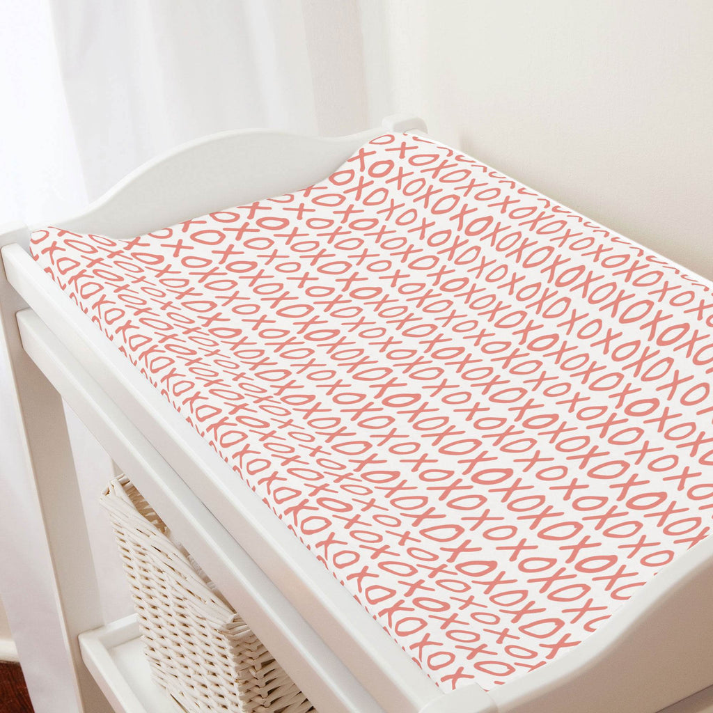 Product image for Light Coral XO Changing Pad Cover