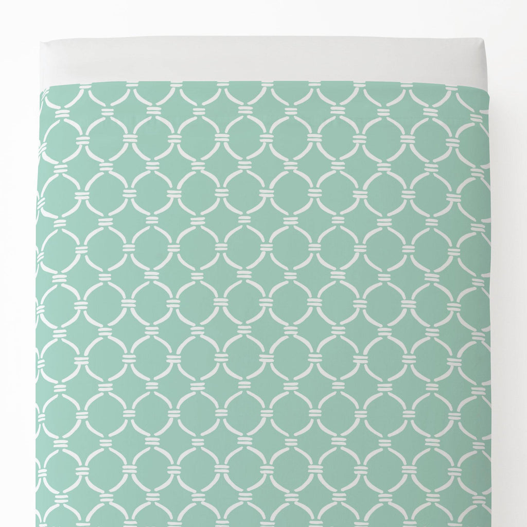 Product image for Mint and White Lattice Circles Toddler Sheet Top Flat