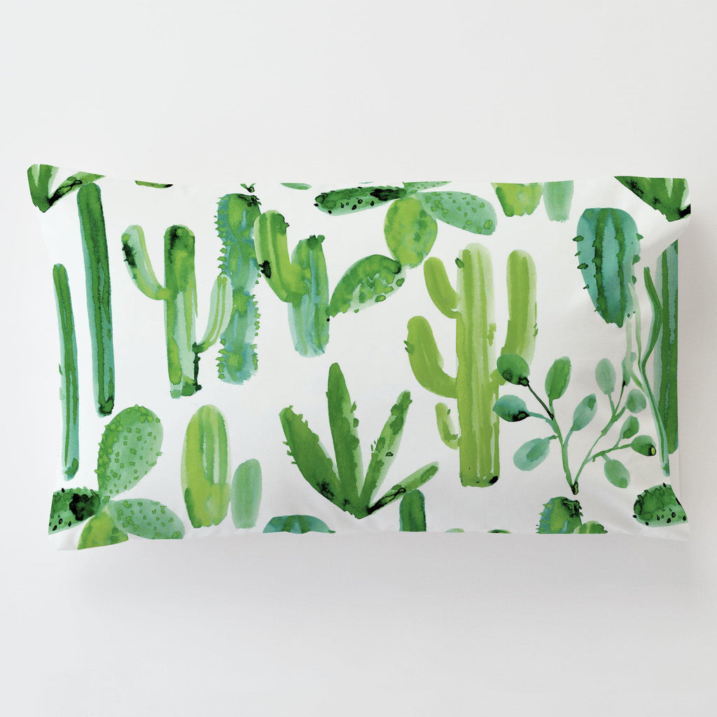 Product image for Green Painted Cactus Toddler Pillow Case with Pillow Insert