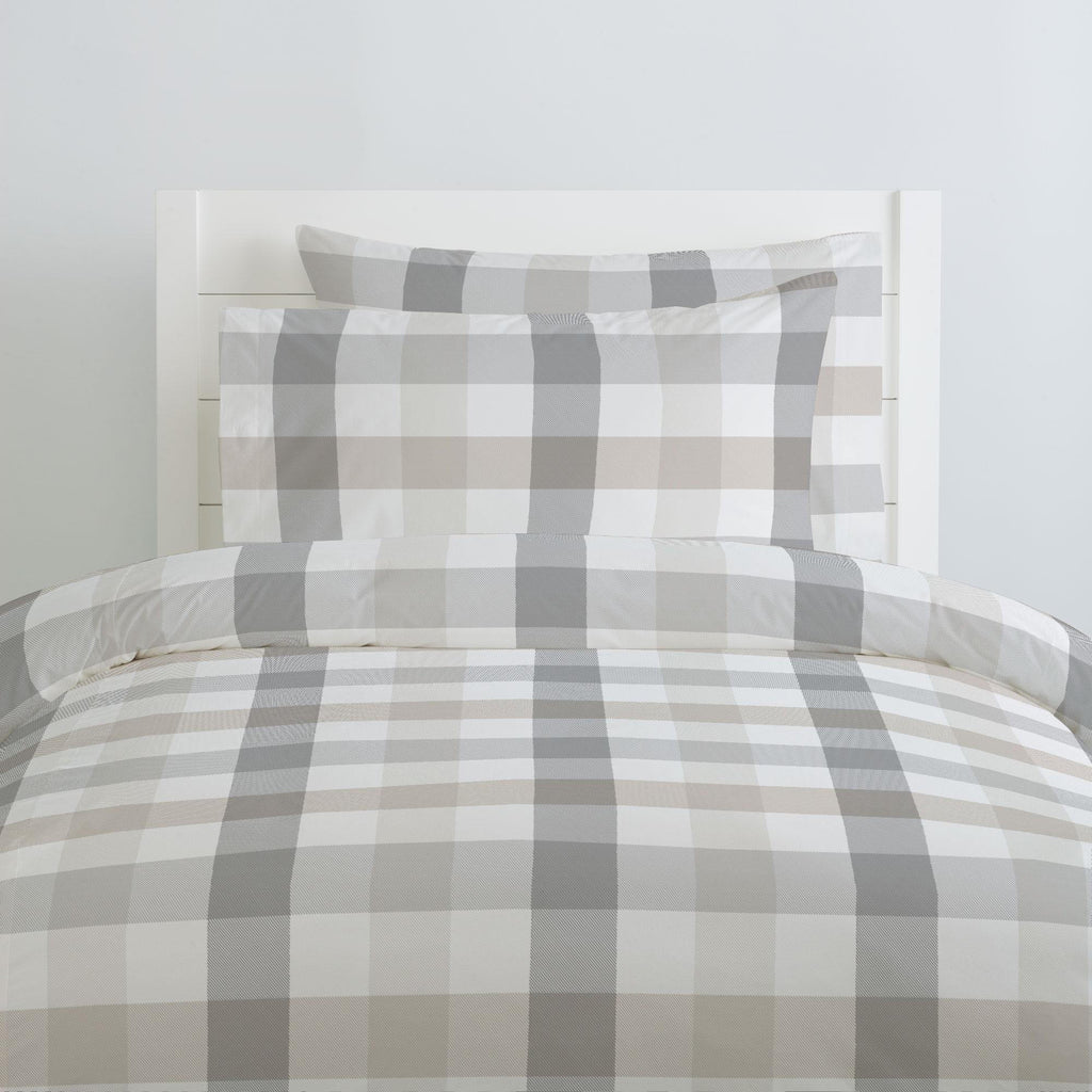 Product image for Gray and Taupe Buffalo Check Duvet Cover