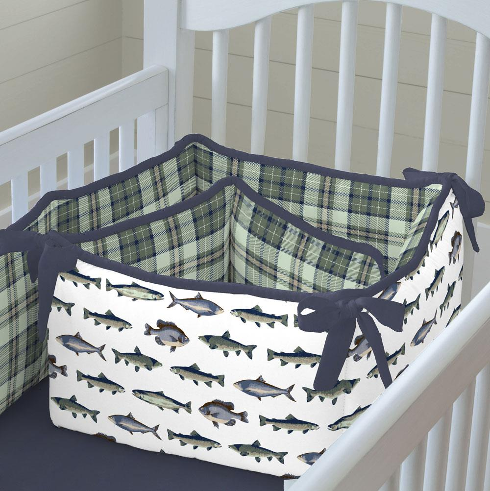 Product image for Navy and Seafoam Fish Crib Bumper