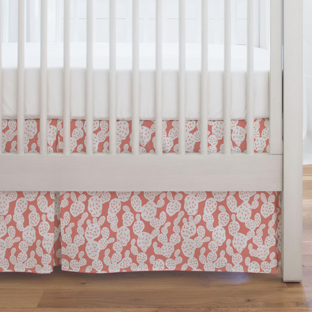 Product image for Light Coral Prickly Pear Crib Skirt Single-Pleat