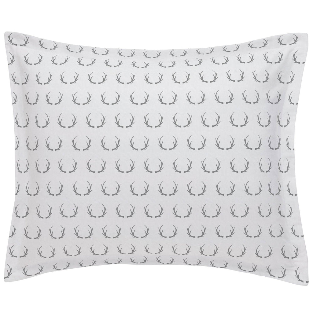 Product image for Silver Gray Antlers Pillow Sham