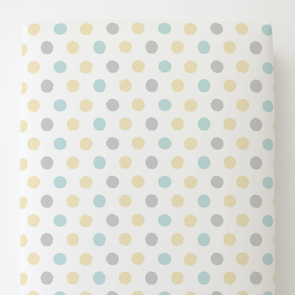 Product image for Mist and Gray Brush Dots Toddler Sheet Bottom Fitted