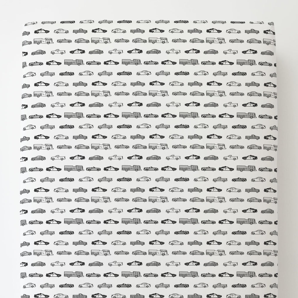Product image for Gray Modern Cars Toddler Sheet Bottom Fitted