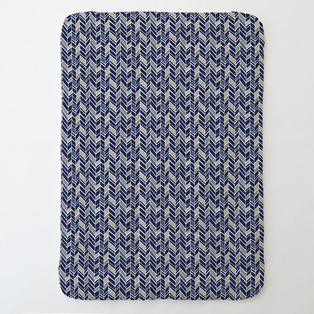 Product image for Taupe and Windsor Navy Herringbone Toddler Comforter