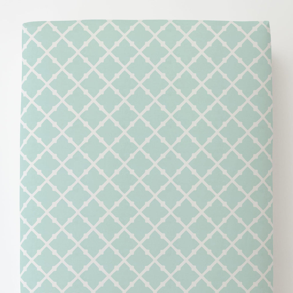 Product image for Icy Mint Lattice Toddler Sheet Bottom Fitted
