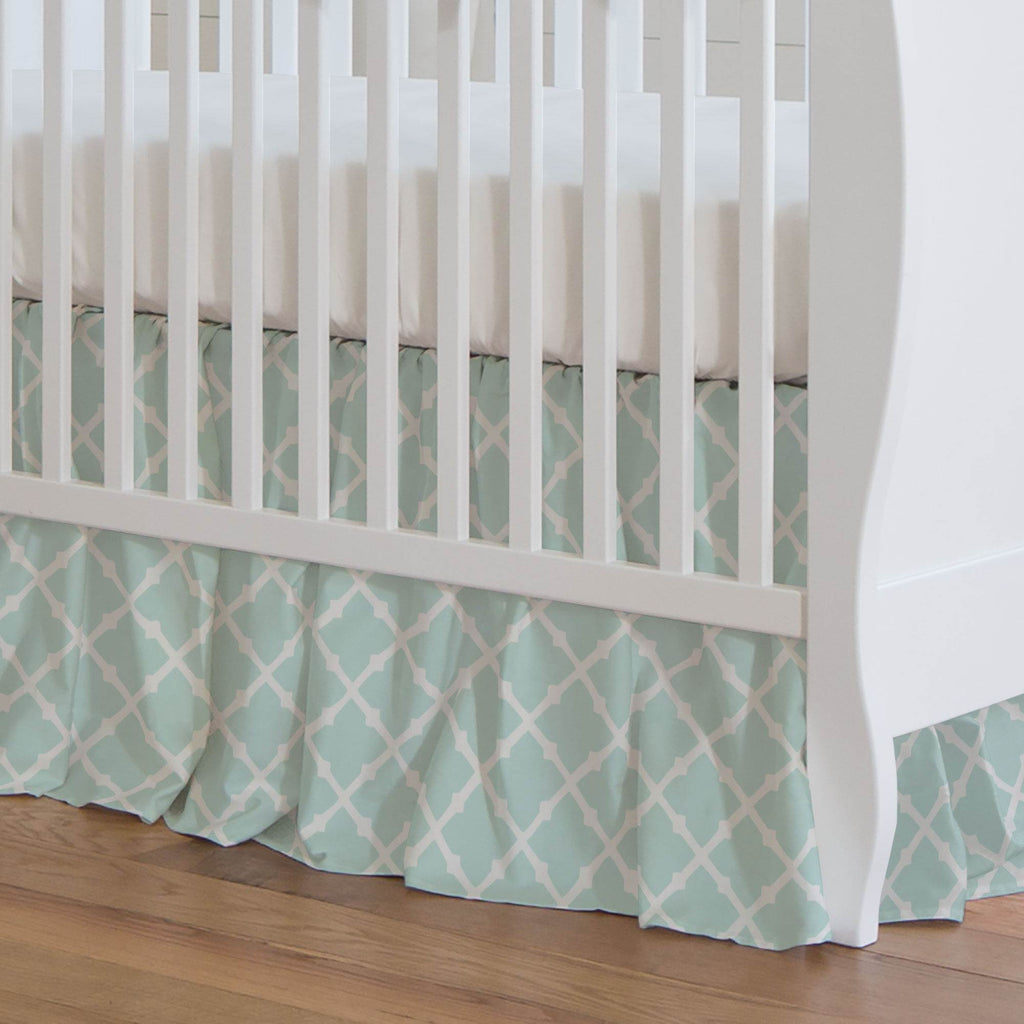 Product image for Icy Mint Lattice Crib Skirt Gathered