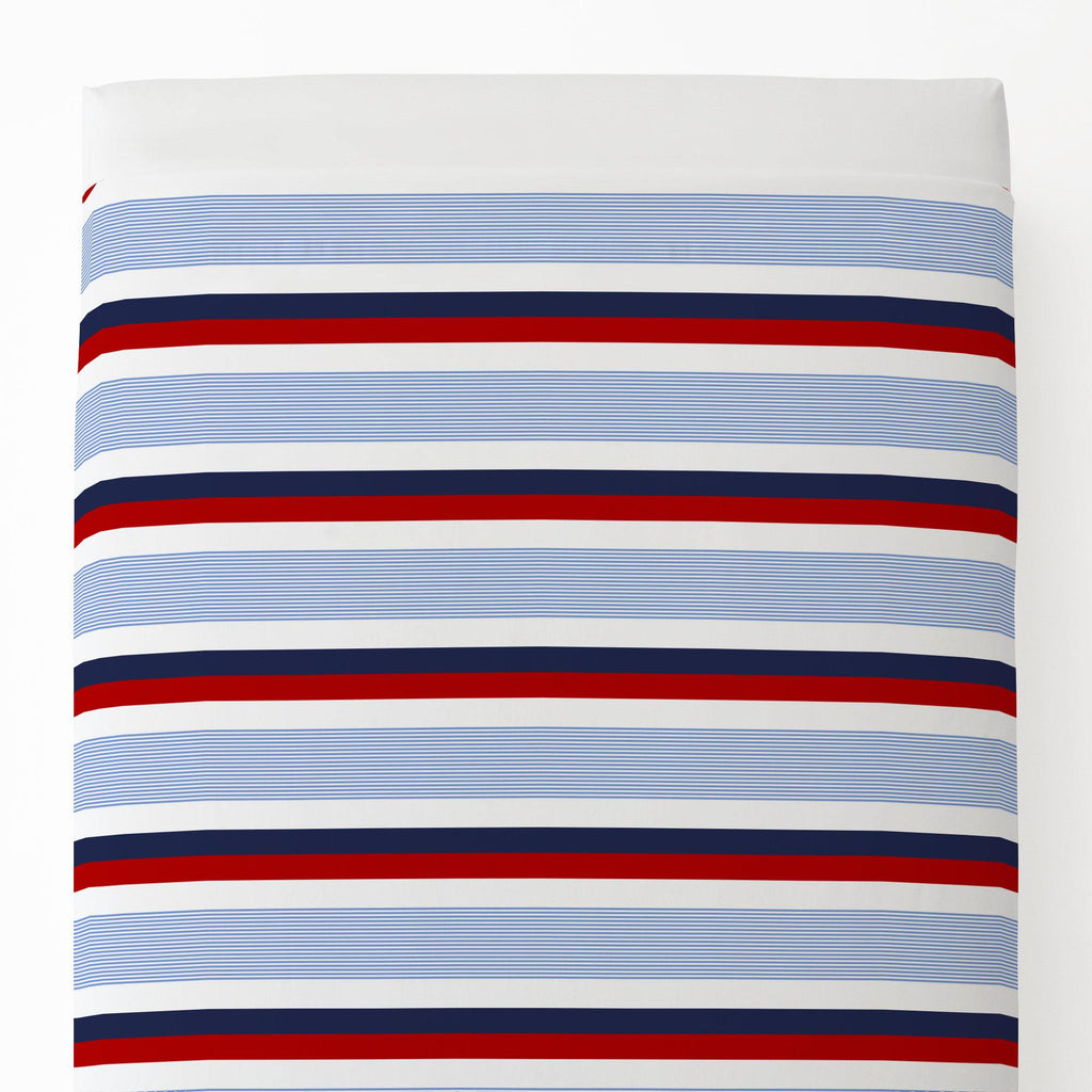Product image for Red and Blue Stripe Toddler Sheet Top Flat