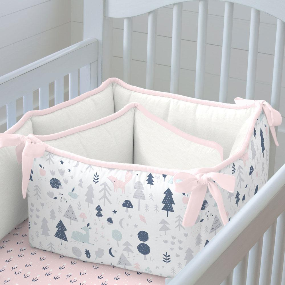 Product image for Gray and Pink Baby Woodland Crib Bumper